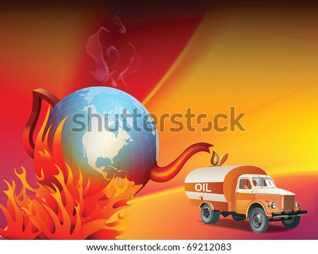 An illustration on global warming and climate change, showing a boiling tea kettle Earth being drained of his oil or petrol - stock photo