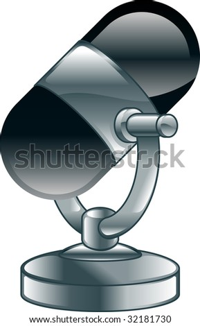 An illustration or icon of a shiny old fashioned microphone - stock photo