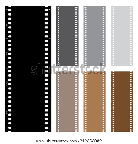 An Illustration pack of film strips isolated on white background - stock photo
