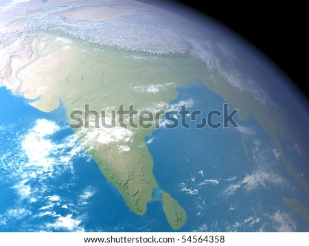 An illustration showing India on a globe as seen from space