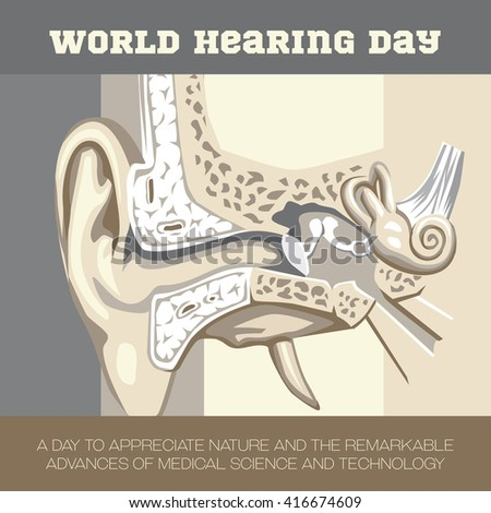 An illustration to create awareness on World Hearing Day - stock photo