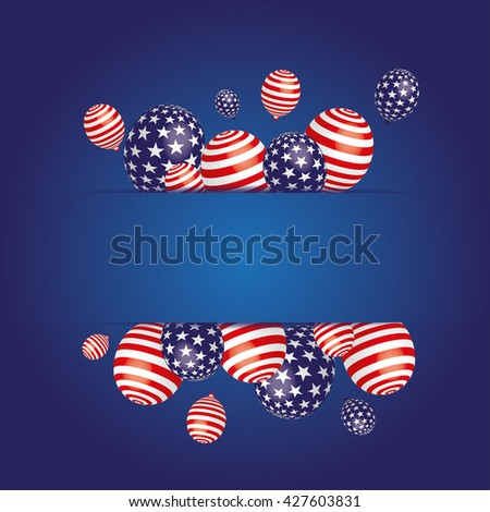 an illustration with American balloons as a background