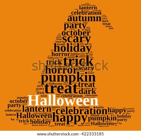 An illustration with word cloud on Halloween.3D rendering - stock photo