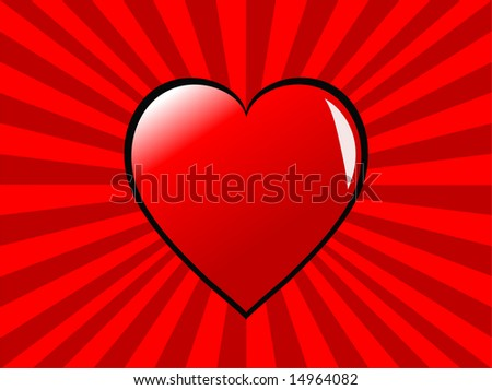 An illustration witt a red heart on a two tone red ray effect background, can be used for saint valentines day, or love or romance