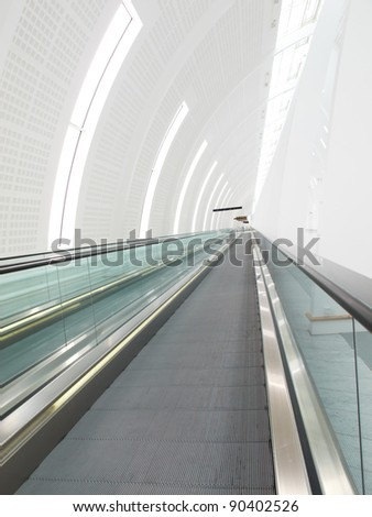 An illustrative, blurred image of airport architecture - stock photo