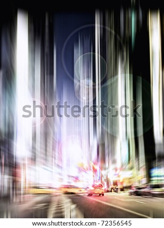 An illustrative image of Night life at Manhattan, NYC - stock photo