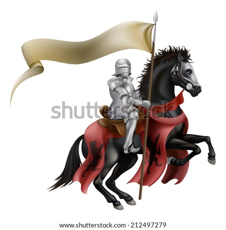An illutration of a knight mounted on a black horse with flag - stock photo