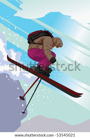 An image a skier wearing a parka and carrying a rucksack and skiing off a mountain slope using the free skiing technique - stock photo