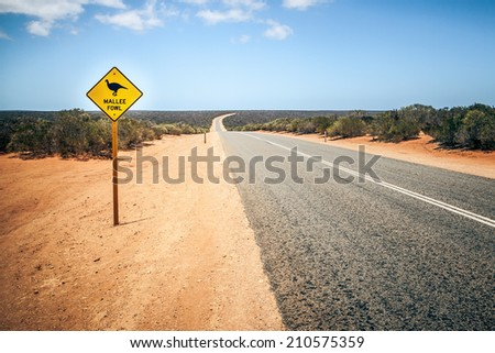 An image of a Australia road sign Mallee Fowl - stock photo