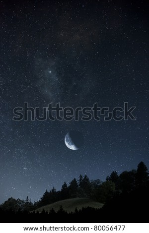 An image of a beautiful moon and stars background - stock photo