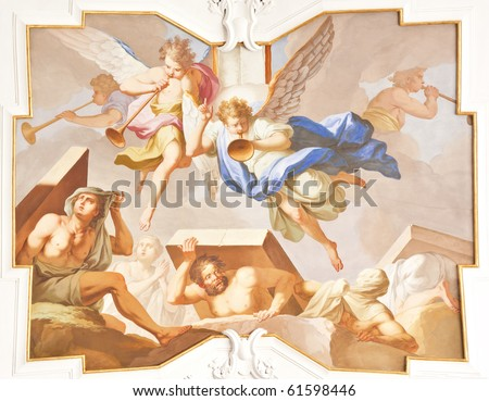 An image of a beautiful religious fresco in Ochsenhausen Germany - stock photo