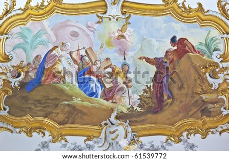 An image of a beautiful religious fresco in Roggenburg Bavaria Germany - stock photo