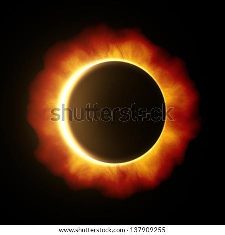 An image of a beautiful sun eclipse - stock photo