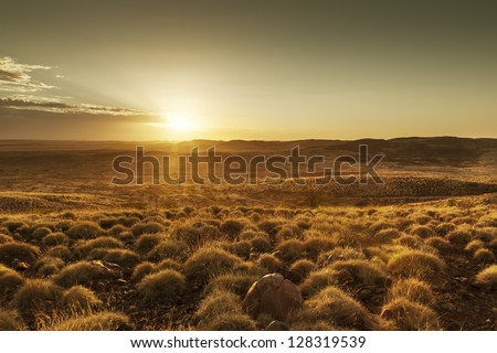 An image of a beautiful sunset in Australia - stock photo