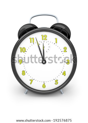 An image of a black alarm clock isolated on white
