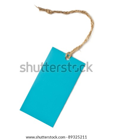 An image of a blue label isolated on white - stock photo