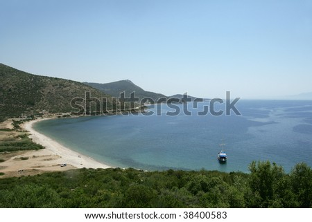 an image of a boat on aegean sea - stock photo