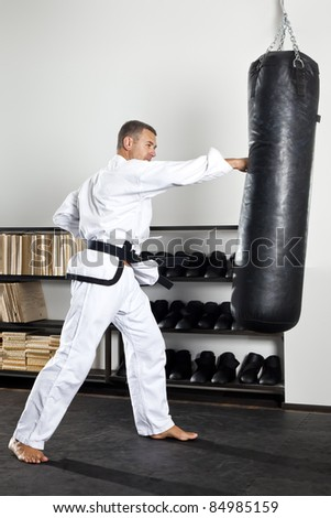 An image of a boxing man in the studio - stock photo