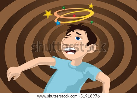 An image of a boy sporting a bruised cheek and feeling dizzy after getting into a fight - stock photo
