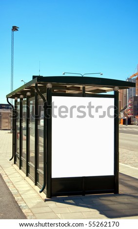 An image of a bus stop with a blank billboard for your advertising situated in the swedish city of Malmo. - stock photo