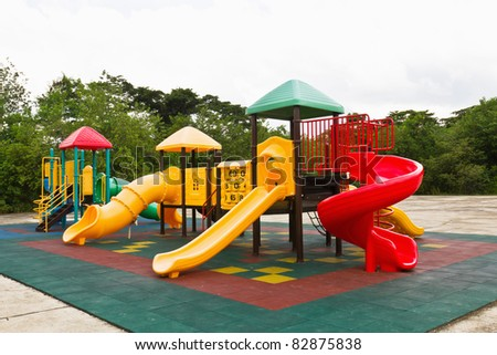 An image of a colorful children playground, without children - stock photo