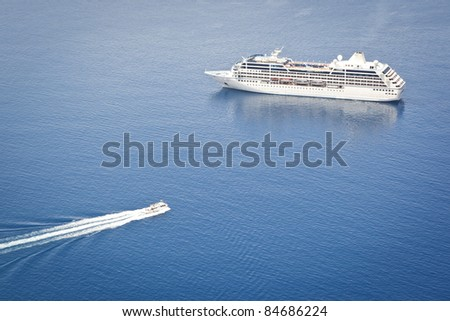 An image of a cruiser in the blue ocean - stock photo