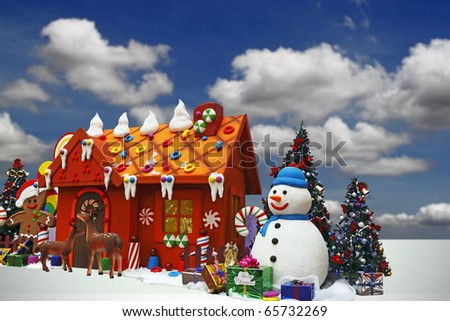 An image of a cute snowman against a Christmas colorful toy house. - stock photo