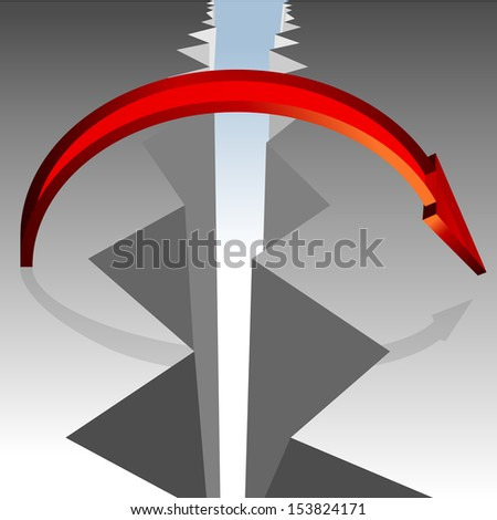 An image of a 3d arrow bridging a gap in the ground. - stock photo