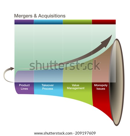 An image of a 3d mergers and aquisitions graph. - stock photo