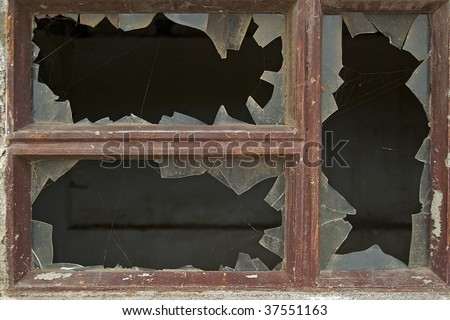 An image of a decay window with broken glasses