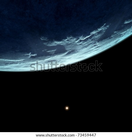 An image of a deep space planet background - stock photo