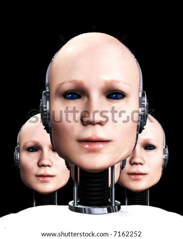 An image of a few heads of technologically cloned robotic women who have been duplicated, it would make a interesting background. - stock photo