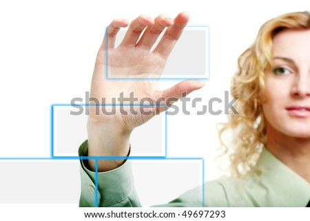 An image of a finger pressing a button - stock photo