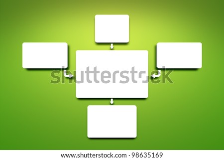 An image of a flowchart on a green background - stock photo
