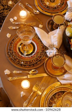 an image of a Formal Dining room place setting - stock photo