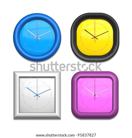 An image of a four different clocks - stock photo