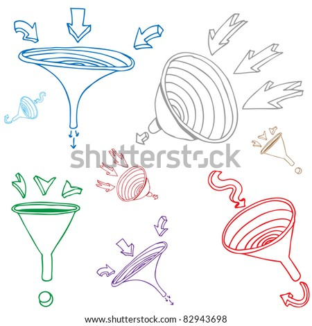An image of a funnel arrow drawing set. - stock photo