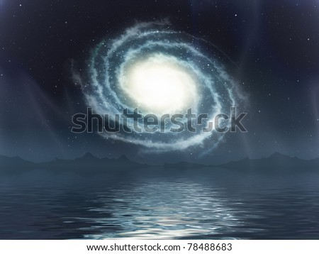 An image of a galaxy over the sea