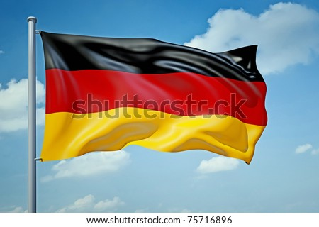 An image of a German flag in the blue sky - stock photo