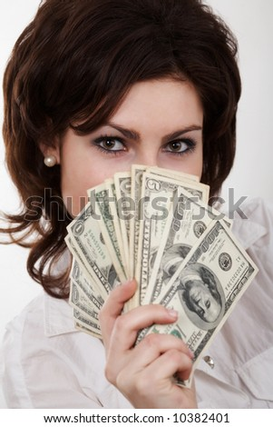 An image of a girl with dollars