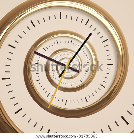 An image of a golden droste spiral clock - stock photo