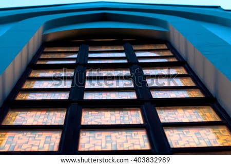 An image of a gothic church window in a Catholic church, Ukraine - stock photo
