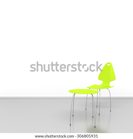 An image of a green chair and a table