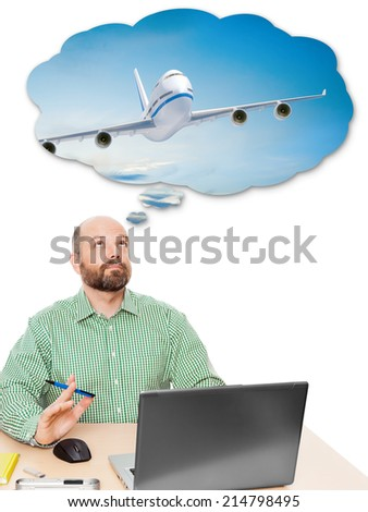 An image of a handsome business man dreaming about vacation - stock photo
