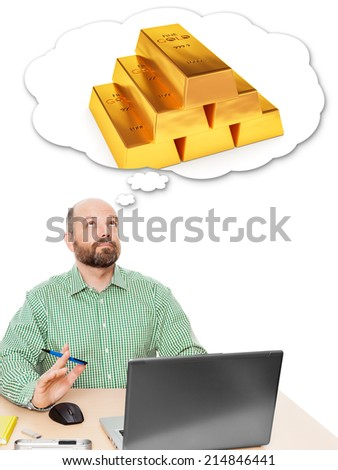 An image of a handsome business man thinking about getting rich - stock photo