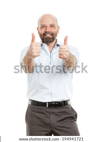 An image of a handsome business man with both thumbs up - stock photo