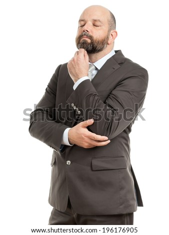 An image of a handsome thinking business man  - stock photo