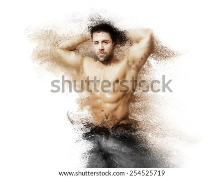 An image of a handsome young muscular sports man dissolving