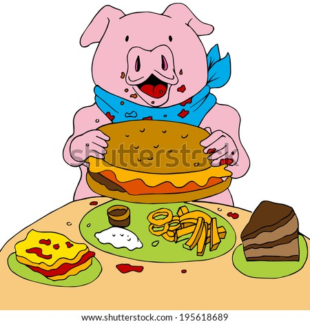 An image of a hungry pig.  - stock photo