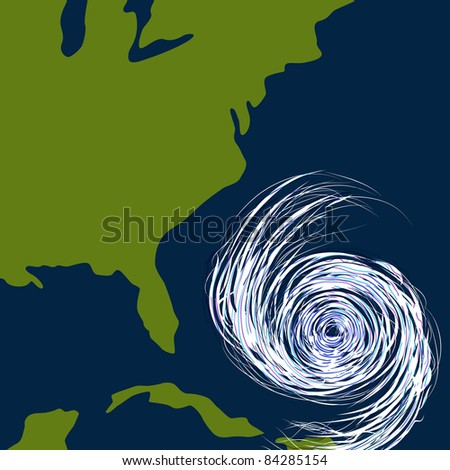 An image of a hurricane off the east coast of the United States. - stock photo